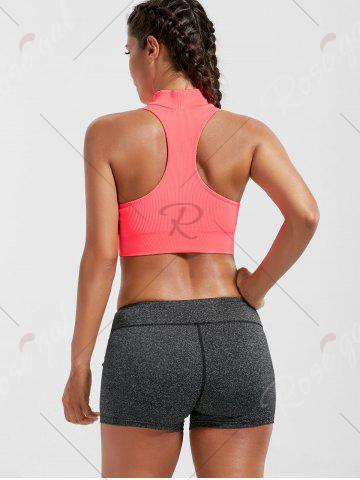 New Padded High Neck Sports Crop Bra Top - M BRIGHT PINK Mobile