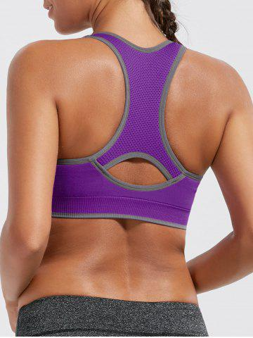 Best Paded Racerback High Impact Gym Bra - L PURPLE Mobile