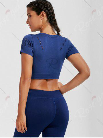 Buy Crew Neck Ripped Sports Crop Running T-shirt - L DEEP BLUE Mobile