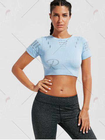 Unique Crew Neck Ripped Sports Crop Running T-shirt - LIGHT BLUE M Mobile