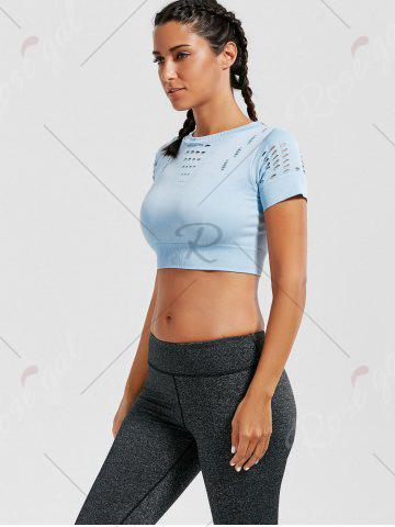 New Crew Neck Ripped Sports Crop Running T-shirt - LIGHT BLUE S Mobile