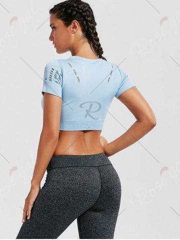Trendy Crew Neck Ripped Sports Crop Running T-shirt - LIGHT BLUE S Mobile