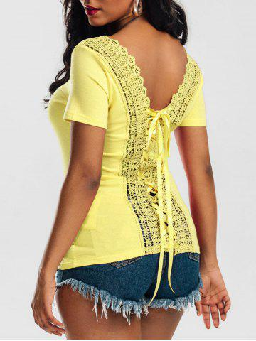 Laced Lace-up Top - Yellow - M