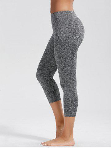 High Rise Capri Workout Leggings with Pockets - Light Gray - M
