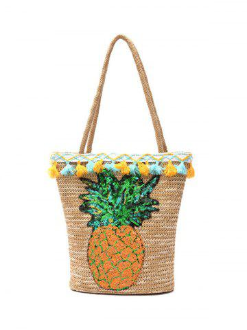 Online Sequined Pineapple and Tassel Straw Bag BEIGE