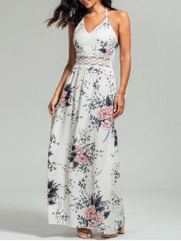 Maxi Floral Cut Out Slip Dress for Summer Blanc S