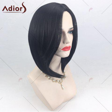 Cheap Adiors Side Part High Low Short Bob Straight Synthetic Wig - BLACK  Mobile