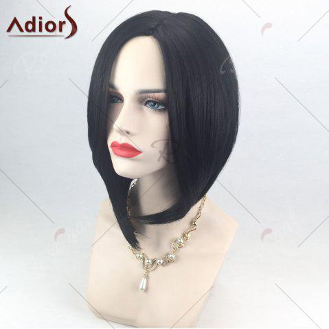 Sale Adiors Side Part High Low Short Bob Straight Synthetic Wig - BLACK  Mobile