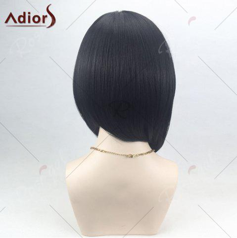 Online Adiors Side Part High Low Short Bob Straight Synthetic Wig - BLACK  Mobile