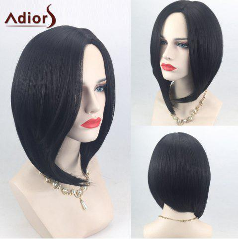 Best Adiors Side Part High Low Short Bob Straight Synthetic Wig - BLACK  Mobile