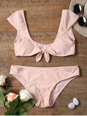 Buy Bowknot Front Cap Sleeve Crop Top Bikini - S SHALLOW PINK Mobile