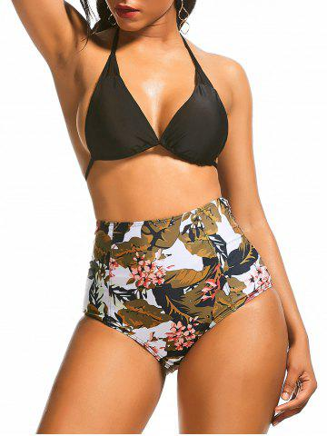 Floral Leaf Print High Waist Bikini Suit - Colormix - S