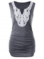 Ruched Laced Sleeveless Top