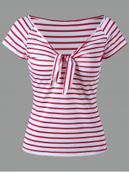 Knot Stripe T-shirt - RED
