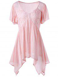 V Neck Lace Panel Asymmetric Blouse