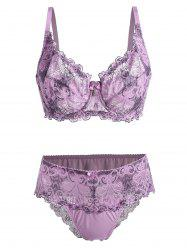 Plus Size Lace Underwire Bra Set - PURPLE