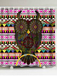 Owl Floral Geometric Waterproof Shower Curtain