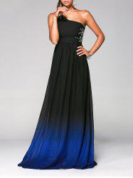Floor Length Rhinestone One Shoulder Ombre Evening Formal Dress - DEEP BLUE