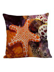Starfish Decorative Linen Pillow Case - ORANGE