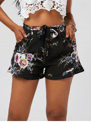 Floral Ruffle Trim High Waisted Shorts - BLACK