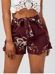 Floral Ruffle Trim High Waisted Shorts - DEEP RED