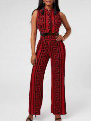 Printed Sleeveless Wide Leg Jumpsuit - RED