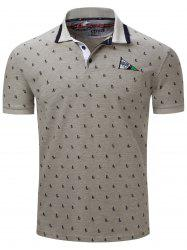 Turn-Down Collar Sailing Print Embroidered Polo T-Shirt