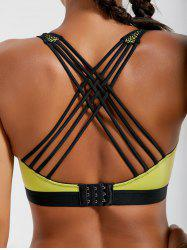 Strappy Padded Criss Cross Sports Bra - LEMON YELLOW