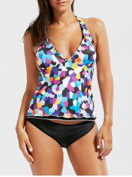 Backless Halter Color Block Tankini Set
