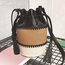 Drawstring Tassel Color Block Bucket Bag