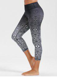 High Rise Ombre Running Cropped Gym Leggings - WHITE AND BLACK