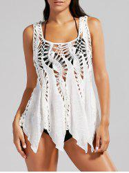 Handkerchief Crochet Tunic Cover Up - WHITE