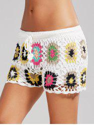 Flower Crochet Cover Up Shorts de plage de drawstring - Blanc TAILLE MOYENNE