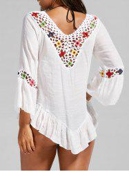 Crochet Panel Flounce Long Sleeve Cover-Up