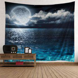Wall Hanging Seascape Moonlight Scene Tapestry - BLUE