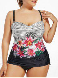 Polka Dot Floral Plus Size Padded Tankini Set