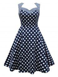 Vintage Stripe Polka Dot Pin Up Dress