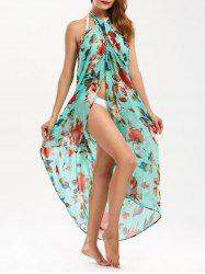 Floral Print Beach Cover Up Wrap Dress
