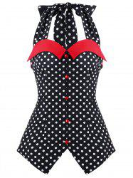 Halter Neck Polka Dot Sleeveless Blouse