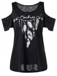 Feather Pattern Cold Shoulder Tee