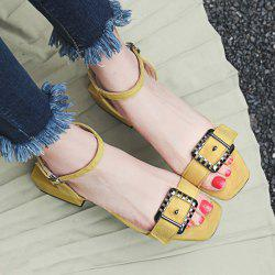 Mid Heel Double Buckle Straps Sandals