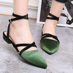 Velvet Slingback Flat Shoes