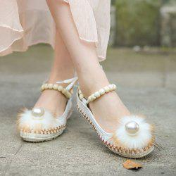 Faux Fur Beading Flat Shoes - WHITE