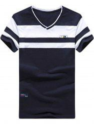 V Neck Two Tone Striped Tee