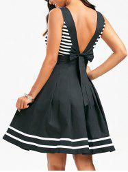 Deep V Back Stripe Skater Dress - COLORMIX