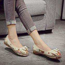 Bowknot Flower Print Flat Shoes