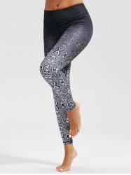 Ombre Plus Size Running Skinny Leggings - WHITE