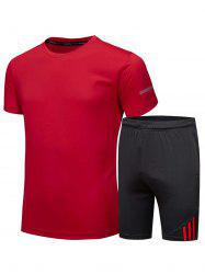 Crew Neck Tee and Shorts Sportswear - RED 3XL