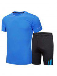 Crew Neck Tee and Shorts Sportswear - BLUE 3XL