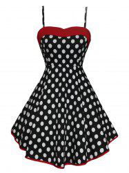 Vintage Polka Dot High Low Lace Up Dress - Noir